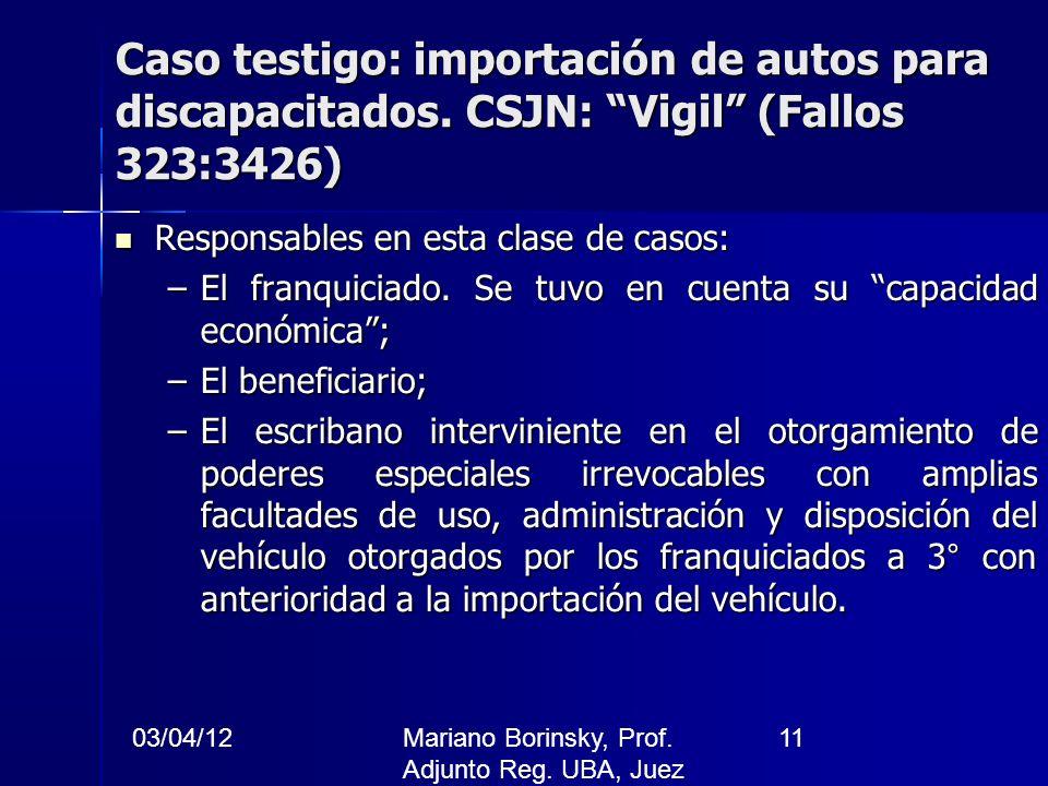 03/04/12Mariano Borinsky, Prof. Adjunto Reg. UBA, Juez CFCP 11 Caso testigo: importación de autos para discapacitados. CSJN: Vigil (Fallos 323:3426) R