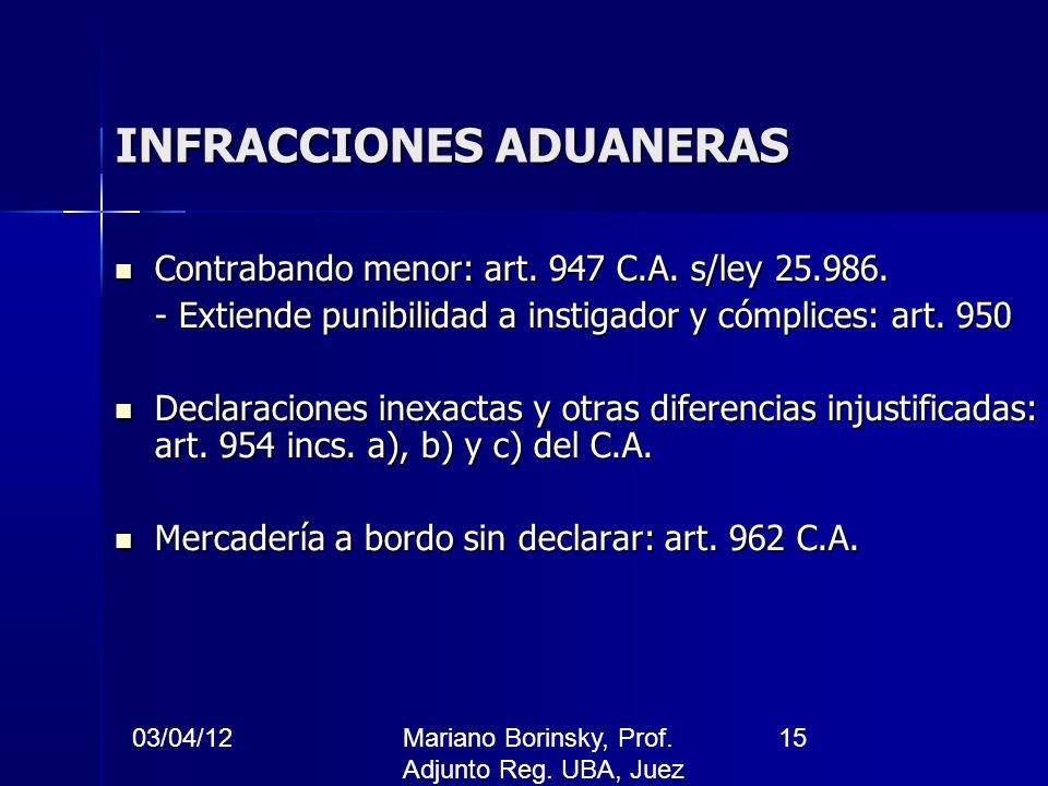 03/04/12Mariano Borinsky, Prof. Adjunto Reg. UBA, Juez CFCP 15 INFRACCIONES ADUANERAS Contrabando menor: art. 947 C.A. s/ley 25.986. Contrabando menor