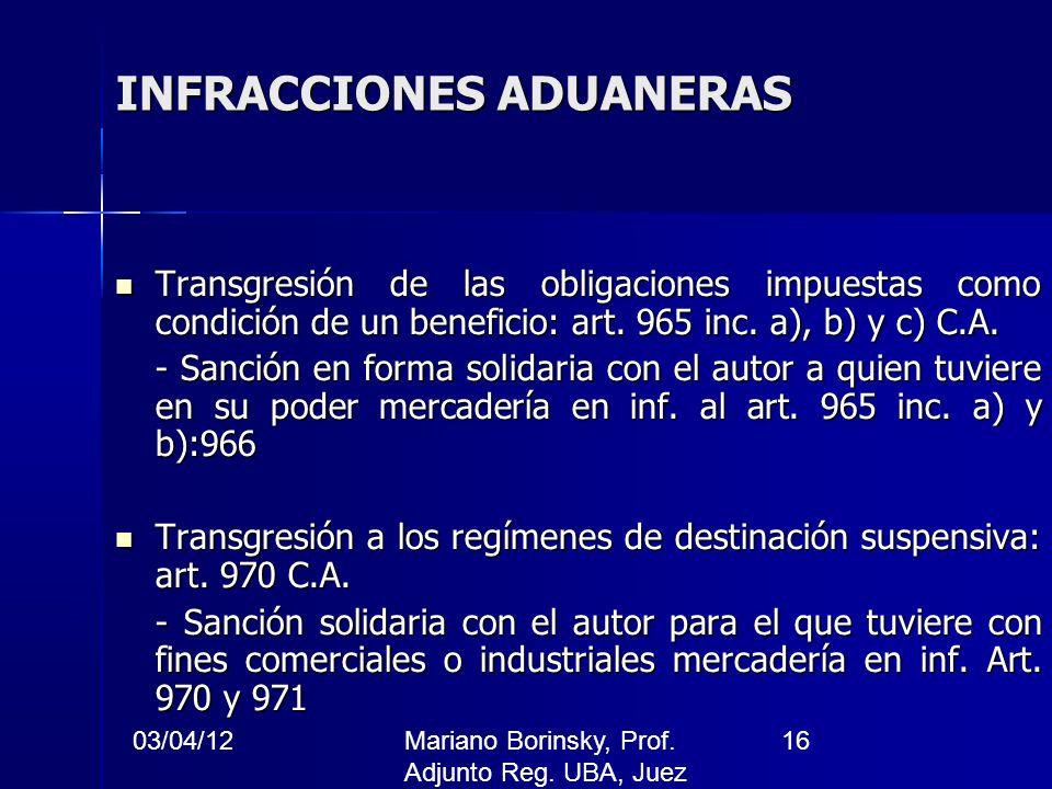 03/04/12Mariano Borinsky, Prof. Adjunto Reg. UBA, Juez CFCP 16 INFRACCIONES ADUANERAS Transgresión de las obligaciones impuestas como condición de un