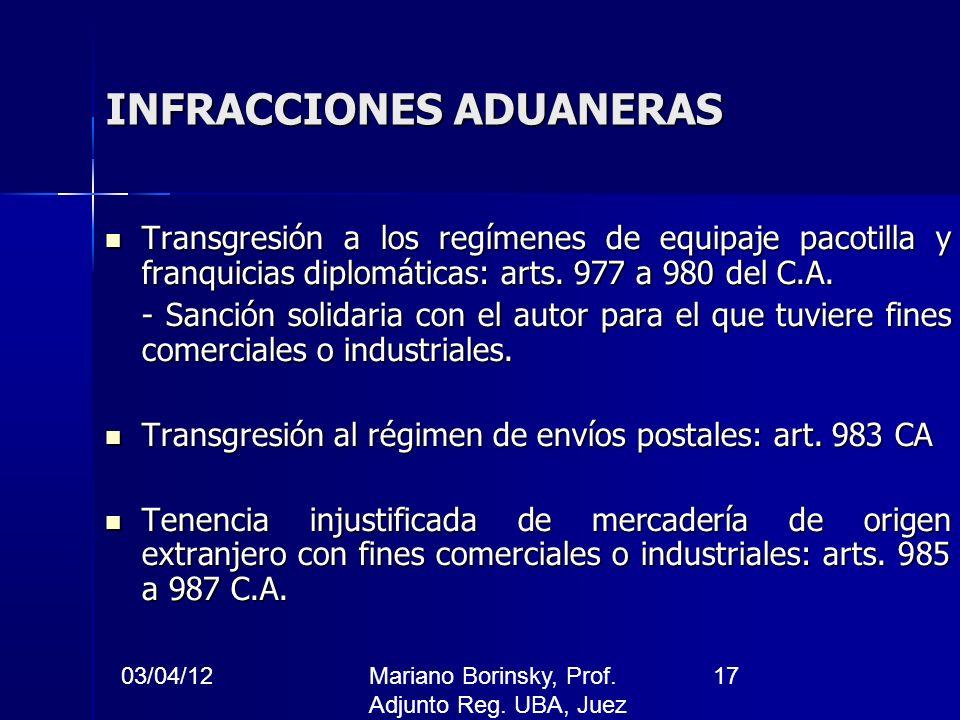 03/04/12Mariano Borinsky, Prof. Adjunto Reg. UBA, Juez CFCP 17 INFRACCIONES ADUANERAS Transgresión a los regímenes de equipaje pacotilla y franquicias