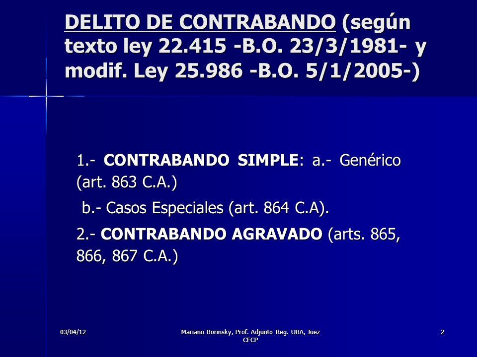 03/04/12Mariano Borinsky, Prof. Adjunto Reg. UBA, Juez CFCP 2 DELITO DE CONTRABANDO (según texto ley 22.415 -B.O. 23/3/1981- y modif. Ley 25.986 -B.O.