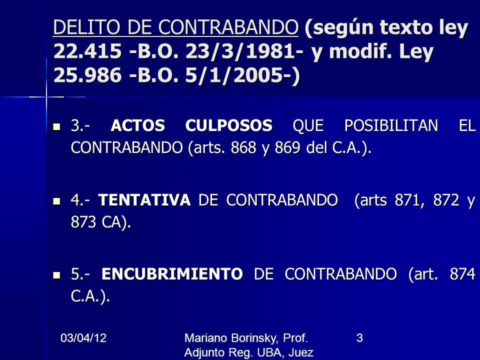 03/04/12Mariano Borinsky, Prof. Adjunto Reg. UBA, Juez CFCP 3 DELITO DE CONTRABANDO (según texto ley 22.415 -B.O. 23/3/1981- y modif. Ley 25.986 -B.O.