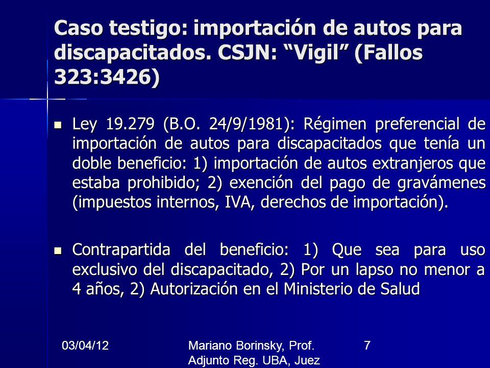 03/04/12Mariano Borinsky, Prof. Adjunto Reg. UBA, Juez CFCP 7 Caso testigo: importación de autos para discapacitados. CSJN: Vigil (Fallos 323:3426) Le