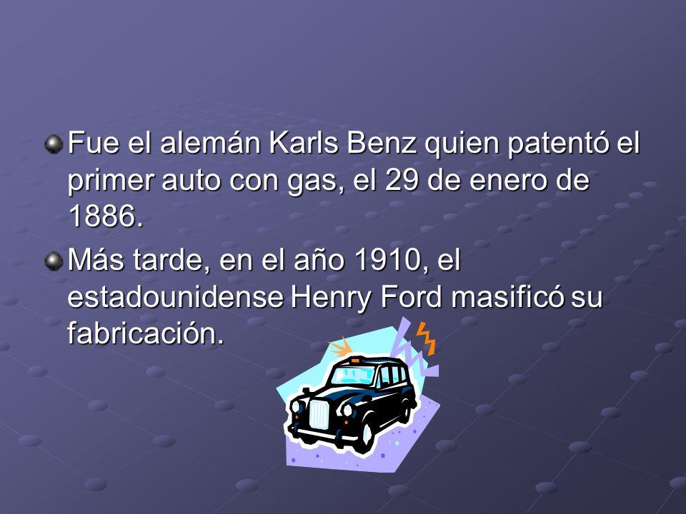 Fue el alemán Karls Benz quien patentó el primer auto con gas, el 29 de enero de 1886. Más tarde, en el año 1910, el estadounidense Henry Ford masific