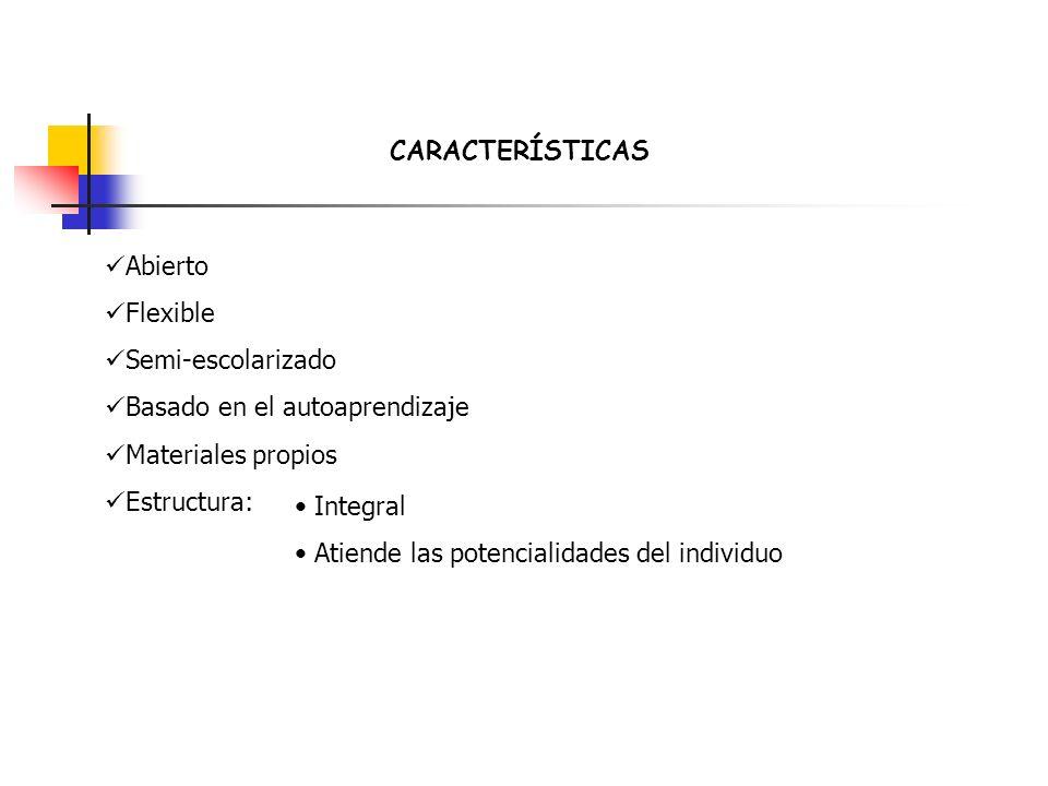 CARACTERÍSTICAS Abierto Flexible Semi-escolarizado Basado en el autoaprendizaje Materiales propios Estructura: Integral Atiende las potencialidades de