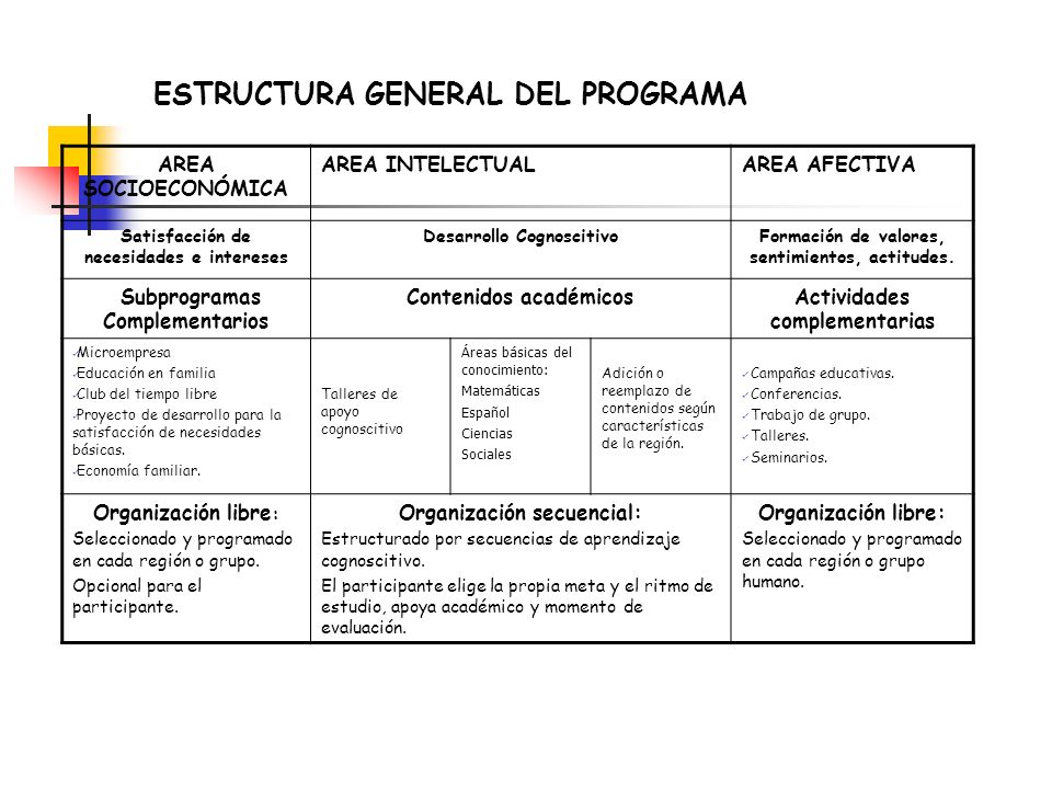 ESTRUCTURA GENERAL DEL PROGRAMA AREA SOCIOECONÓMICA AREA INTELECTUALAREA AFECTIVA Satisfacción de necesidades e intereses Desarrollo CognoscitivoForma