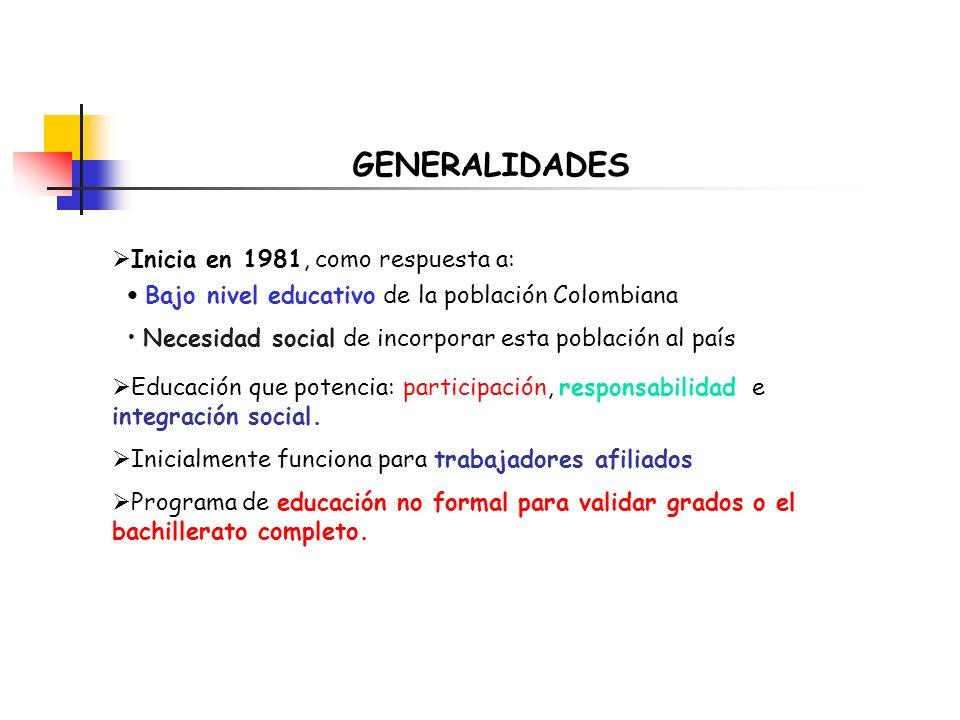 GENERALIDADES Inicia en 1981, como respuesta a: Bajo nivel educativo de la población Colombiana Necesidad social de incorporar esta población al país