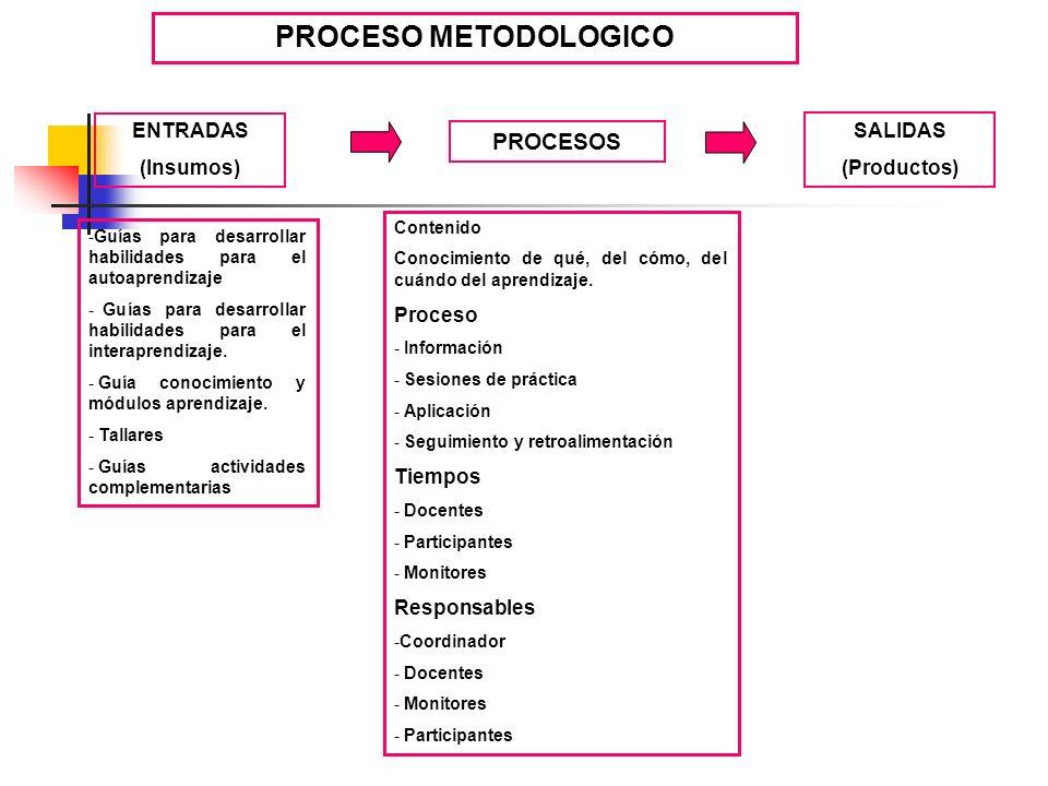 PROCESO METODOLOGICO -Guías para desarrollar habilidades para el autoaprendizaje - Guías para desarrollar habilidades para el interaprendizaje. - Guía
