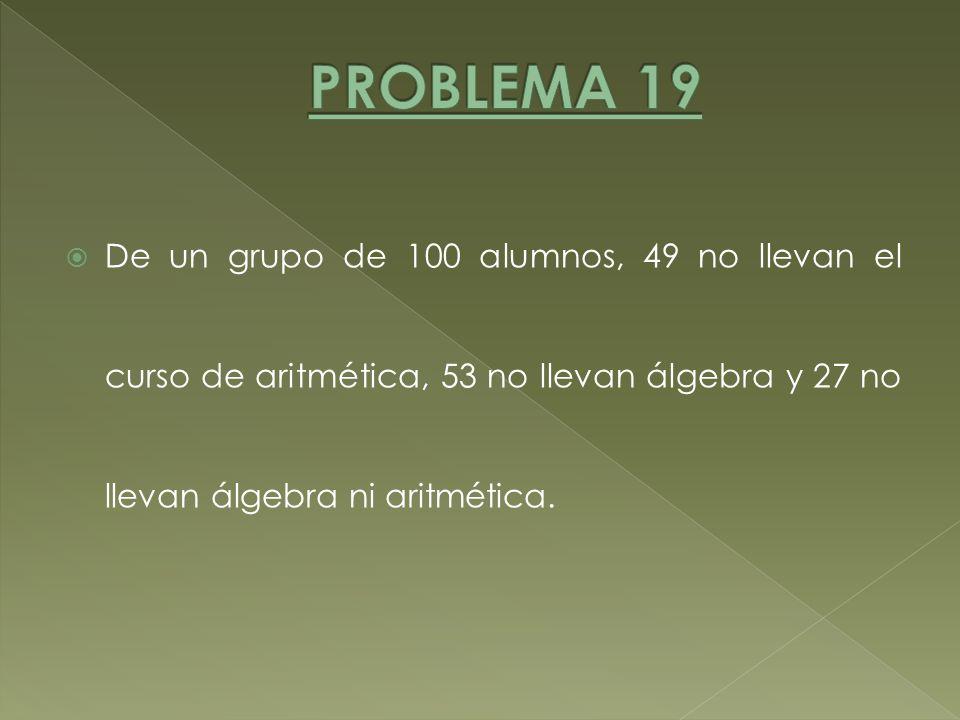 De un grupo de 100 alumnos, 49 no llevan el curso de aritmética, 53 no llevan álgebra y 27 no llevan álgebra ni aritmética.