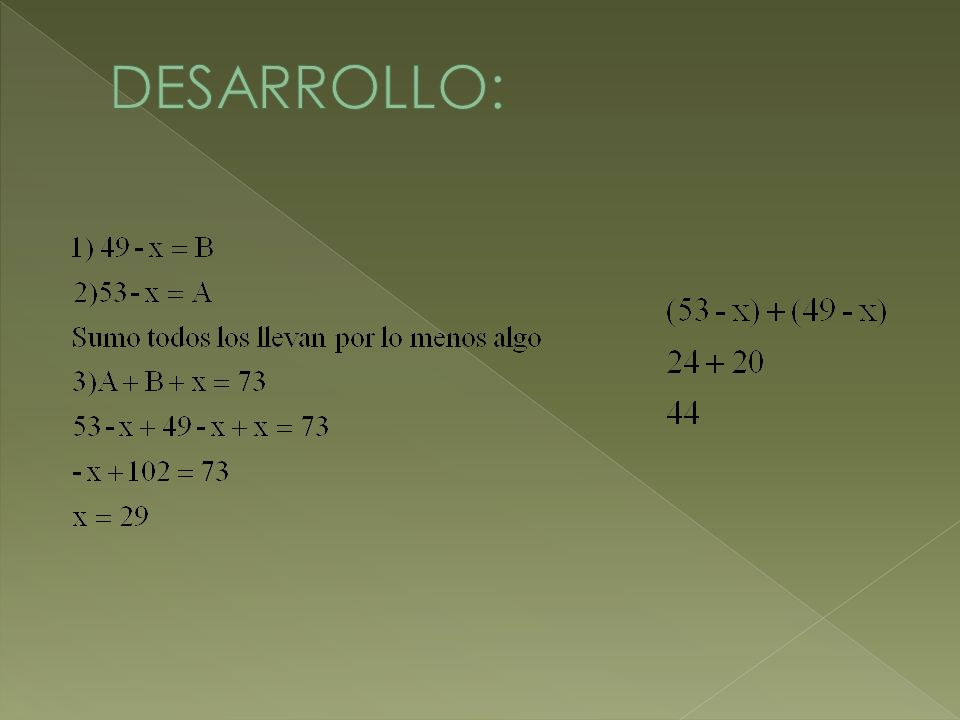 AlgebraAritmética 49-x (B) 53-x (A) x U 27