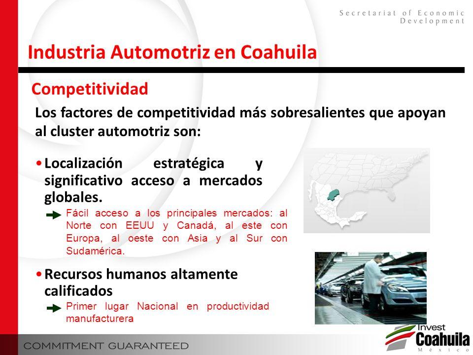 Competitividad Industria Automotriz en Coahuila Los factores de competitividad más sobresalientes que apoyan al cluster automotriz son: Localización e