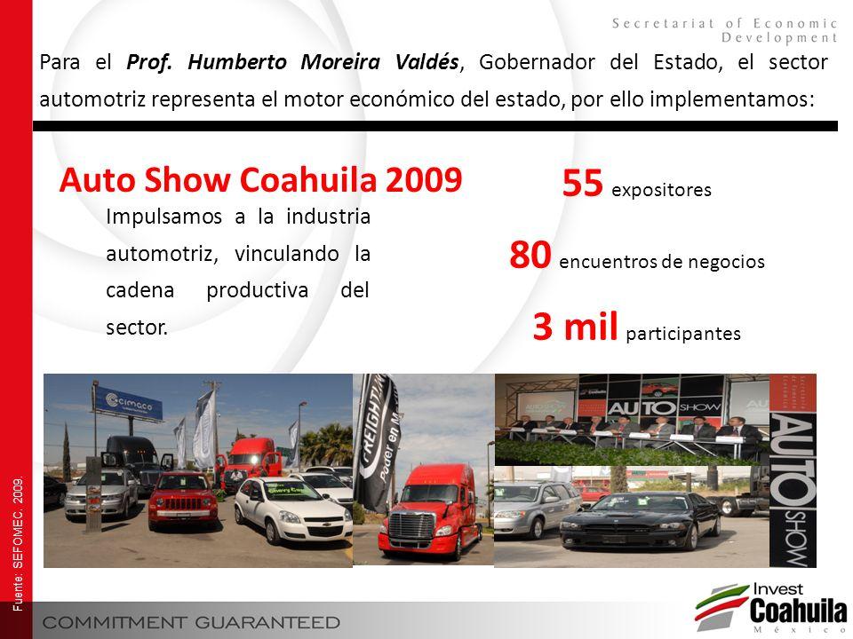 Impulsamos a la industria automotriz, vinculando la cadena productiva del sector. Auto Show Coahuila 2009 55 expositores 80 encuentros de negocios 3 m