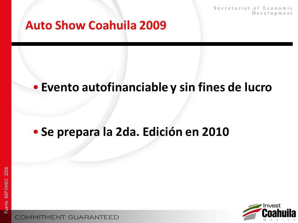 Auto Show Coahuila 2009 Evento autofinanciable y sin fines de lucro Se prepara la 2da. Edición en 2010 Fuente: SEFOMEC. 2009.