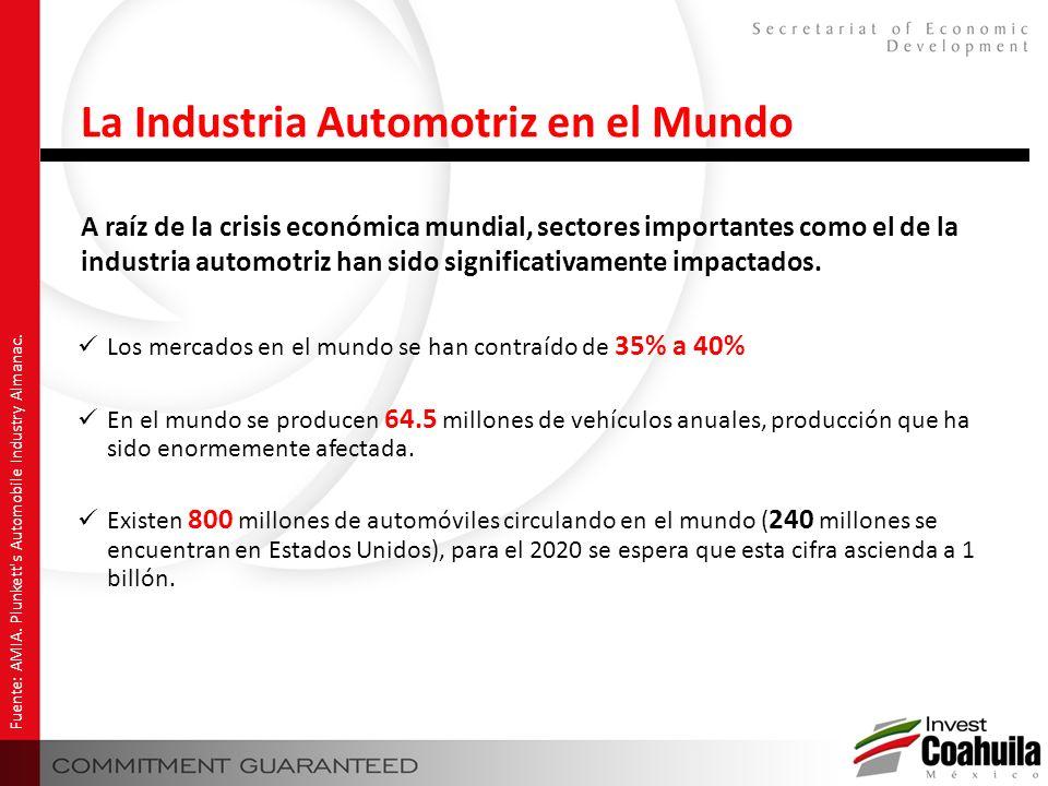 A raíz de la crisis económica mundial, sectores importantes como el de la industria automotriz han sido significativamente impactados. Fuente: AMIA. P