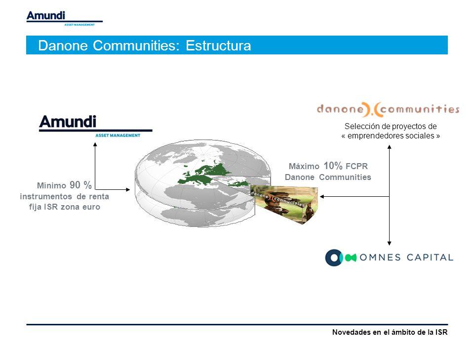 Danone Communities: Estructura Mínimo 90 % instrumentos de renta fija ISR zona euro Máximo 10% FCPR Danone Communities Selección de proyectos de « emprendedores sociales » Novedades en el ámbito de la ISR