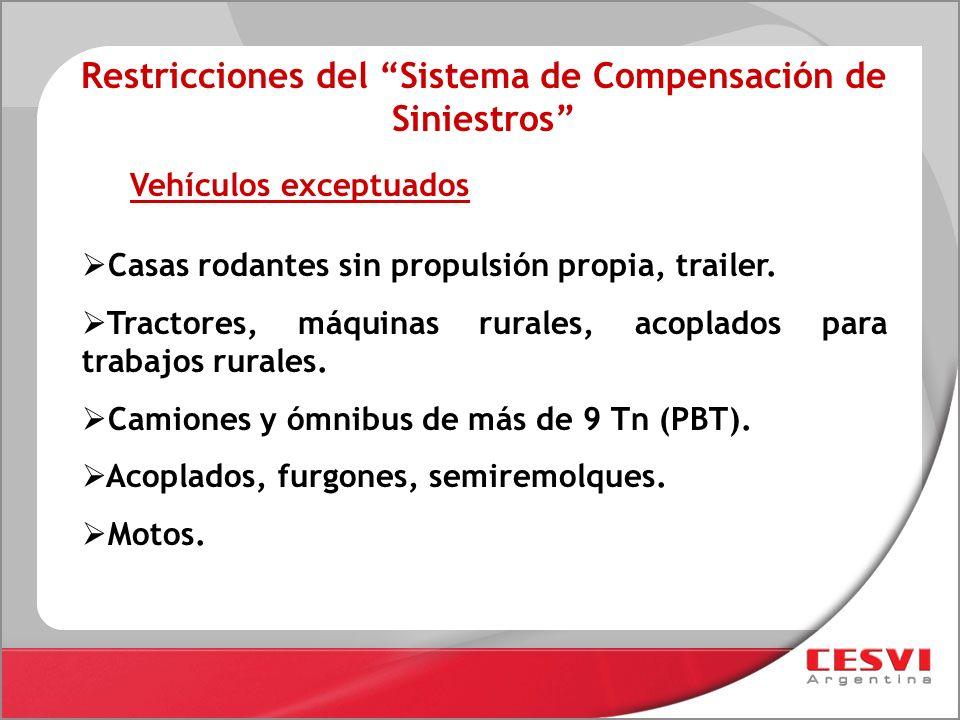 Restricciones del Sistema de Compensación de Siniestros Casas rodantes sin propulsión propia, trailer. Tractores, máquinas rurales, acoplados para tra