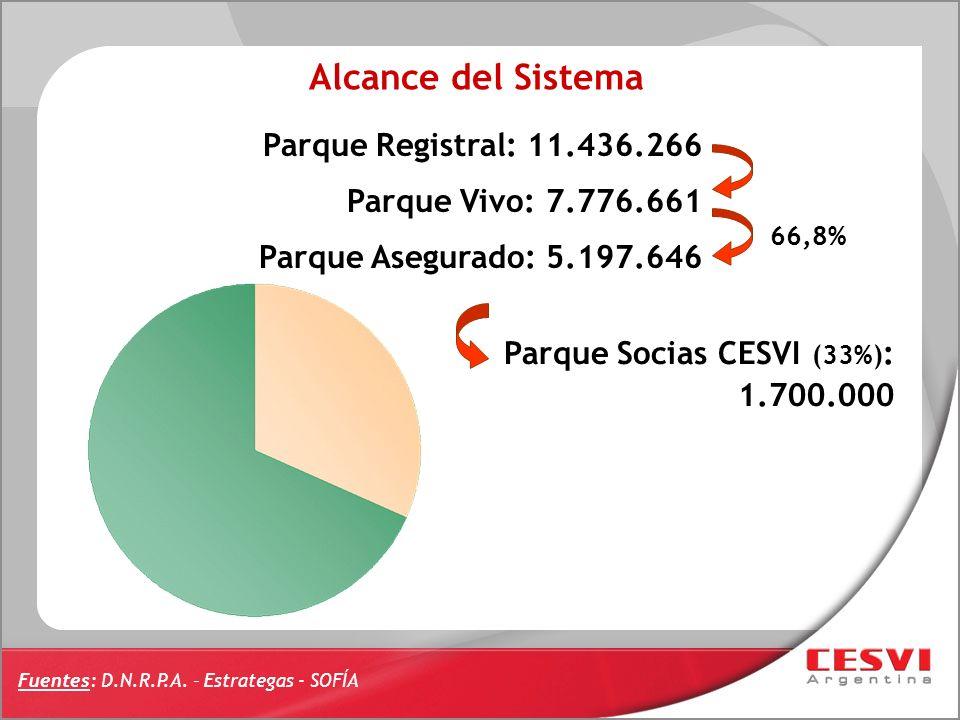 Parque Registral: 11.436.266 Parque Vivo: 7.776.661 Parque Asegurado: 5.197.646 66,8% Parque Socias CESVI (33%) : 1.700.000 Fuentes: D.N.R.P.A. – Estr