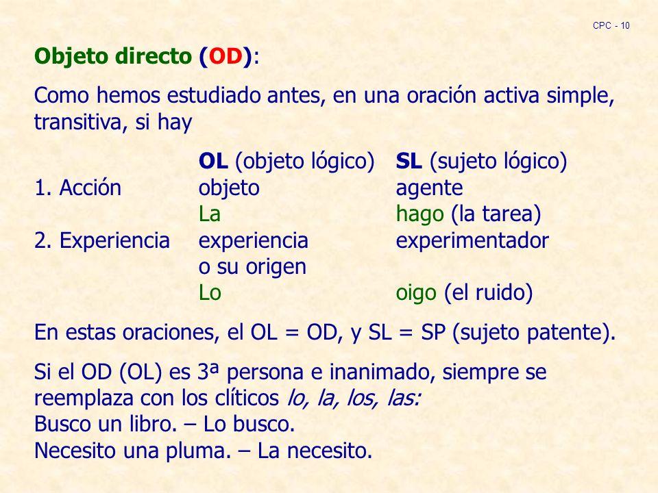 Objeto directo (OD): Como hemos estudiado antes, en una oración activa simple, transitiva, si hay OL (objeto lógico)SL (sujeto lógico) 1.
