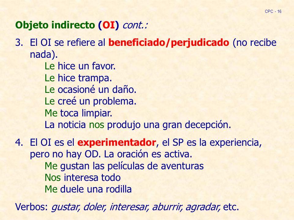 Objeto indirecto (OI) cont.: 3.El OI se refiere al beneficiado/perjudicado (no recibe nada).