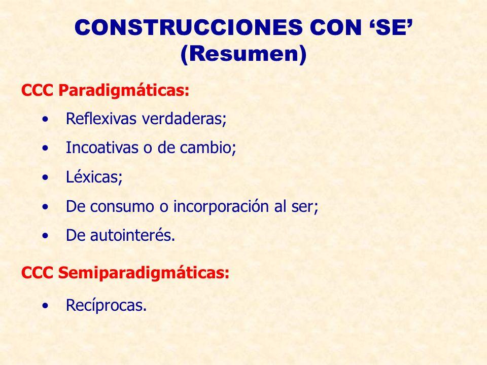 CONSTRUCCIONES CON SE (Resumen) Reflexivas verdaderas; Incoativas o de cambio; Léxicas; De consumo o incorporación al ser; De autointerés.