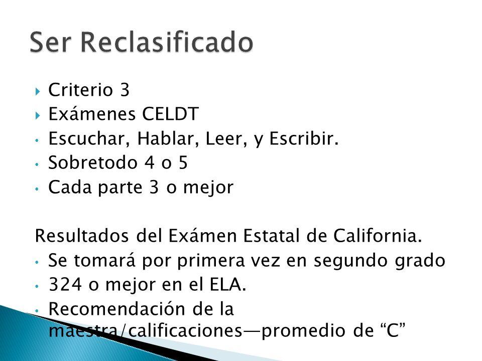 Criterio 3 Exámenes CELDT Escuchar, Hablar, Leer, y Escribir.