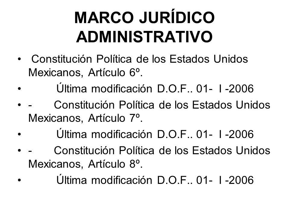 MARCO JURÍDICO ADMINISTRATIVO Constitución Política de los Estados Unidos Mexicanos, Artículo 6º. Última modificación D.O.F.. 01- I -2006 - Constituci