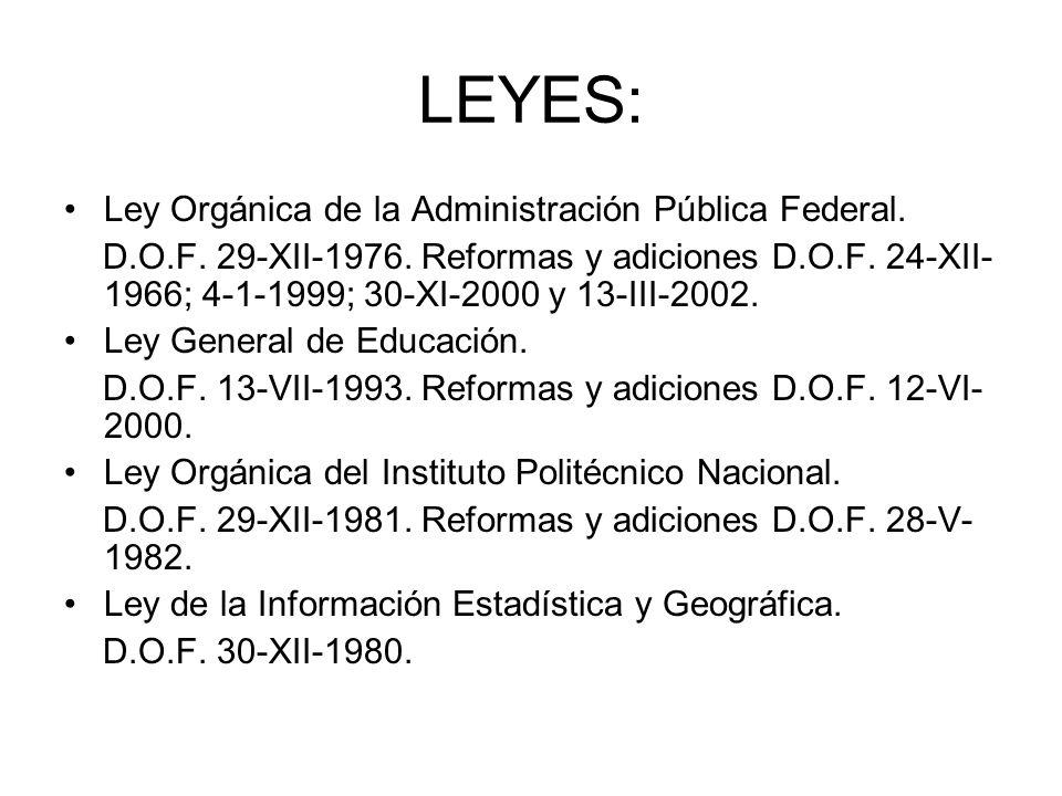 LEYES: Ley Orgánica de la Administración Pública Federal. D.O.F. 29-XII-1976. Reformas y adiciones D.O.F. 24-XII- 1966; 4-1-1999; 30-XI-2000 y 13-III-