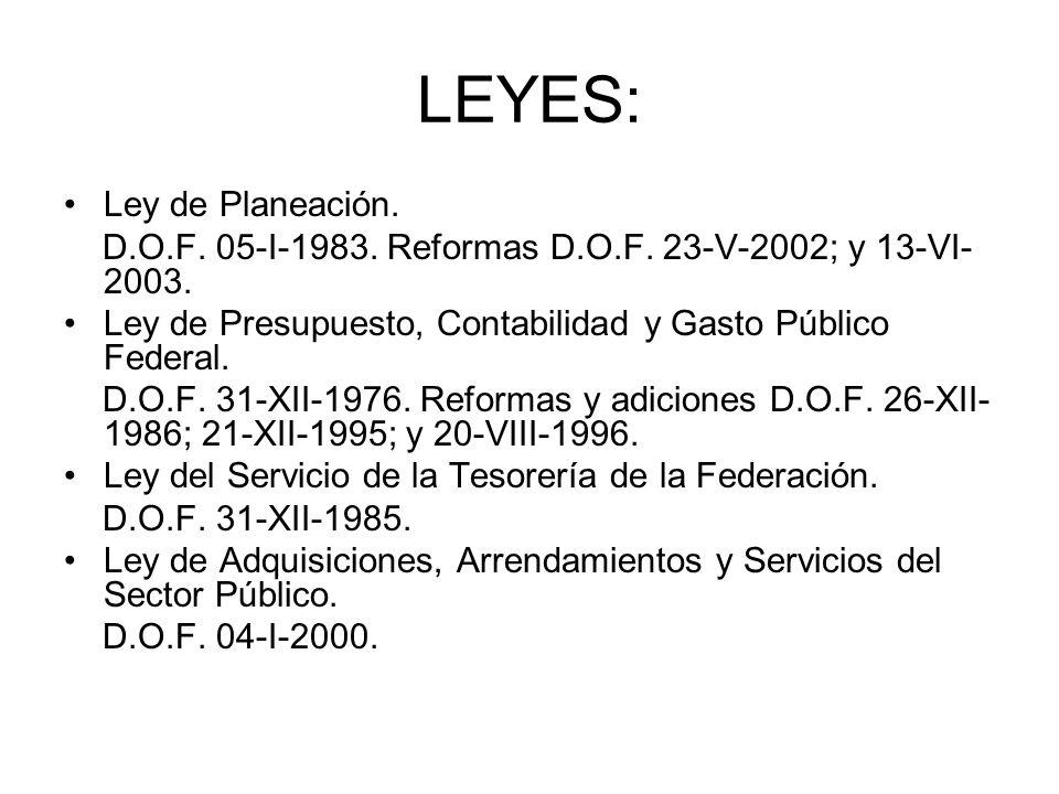 LEYES: Ley de Planeación. D.O.F. 05-I-1983. Reformas D.O.F. 23-V-2002; y 13-VI- 2003. Ley de Presupuesto, Contabilidad y Gasto Público Federal. D.O.F.