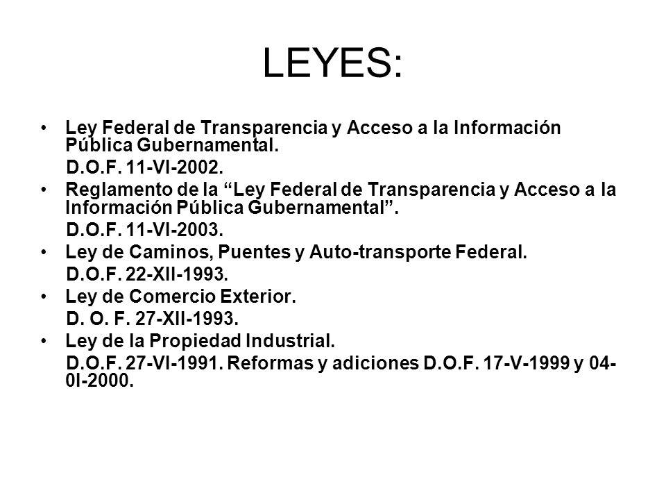 LEYES: Ley Federal de Transparencia y Acceso a la Información Pública Gubernamental. D.O.F. 11-VI-2002. Reglamento de la Ley Federal de Transparencia