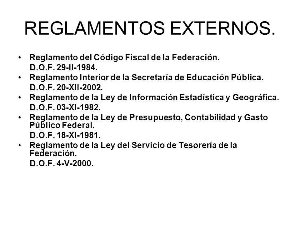 REGLAMENTOS EXTERNOS. Reglamento del Código Fiscal de la Federación. D.O.F. 29-II-1984. Reglamento Interior de la Secretaría de Educación Pública. D.O