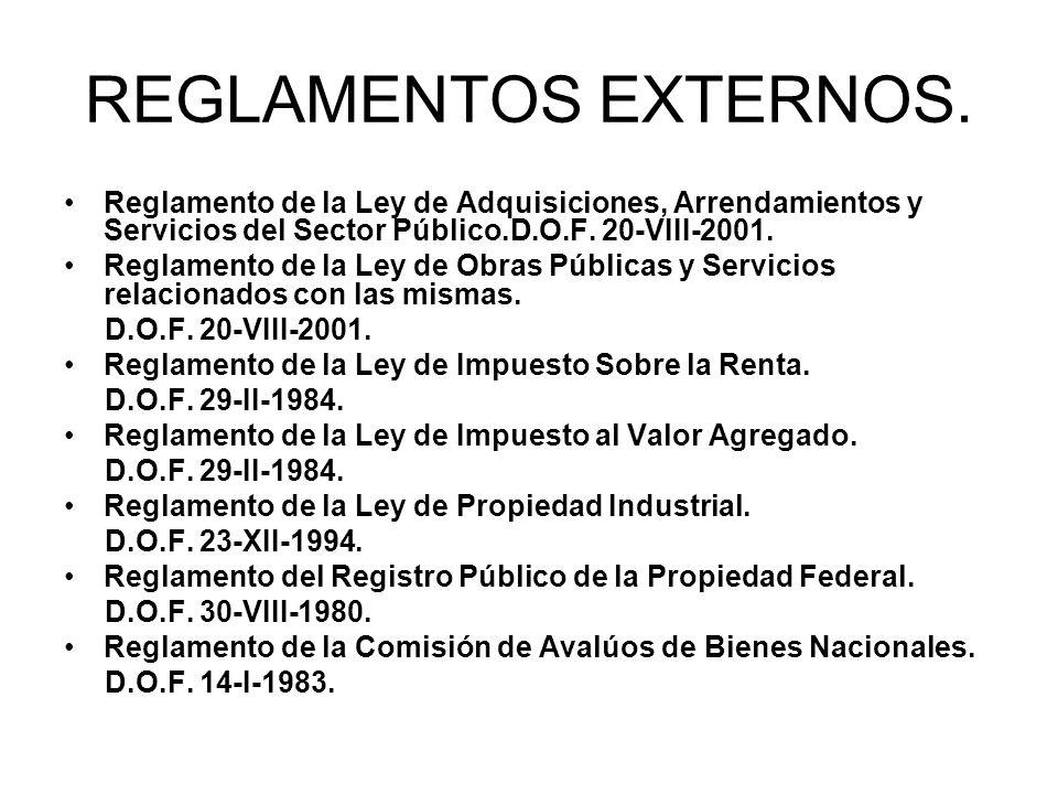 REGLAMENTOS EXTERNOS. Reglamento de la Ley de Adquisiciones, Arrendamientos y Servicios del Sector Público.D.O.F. 20-VIII-2001. Reglamento de la Ley d