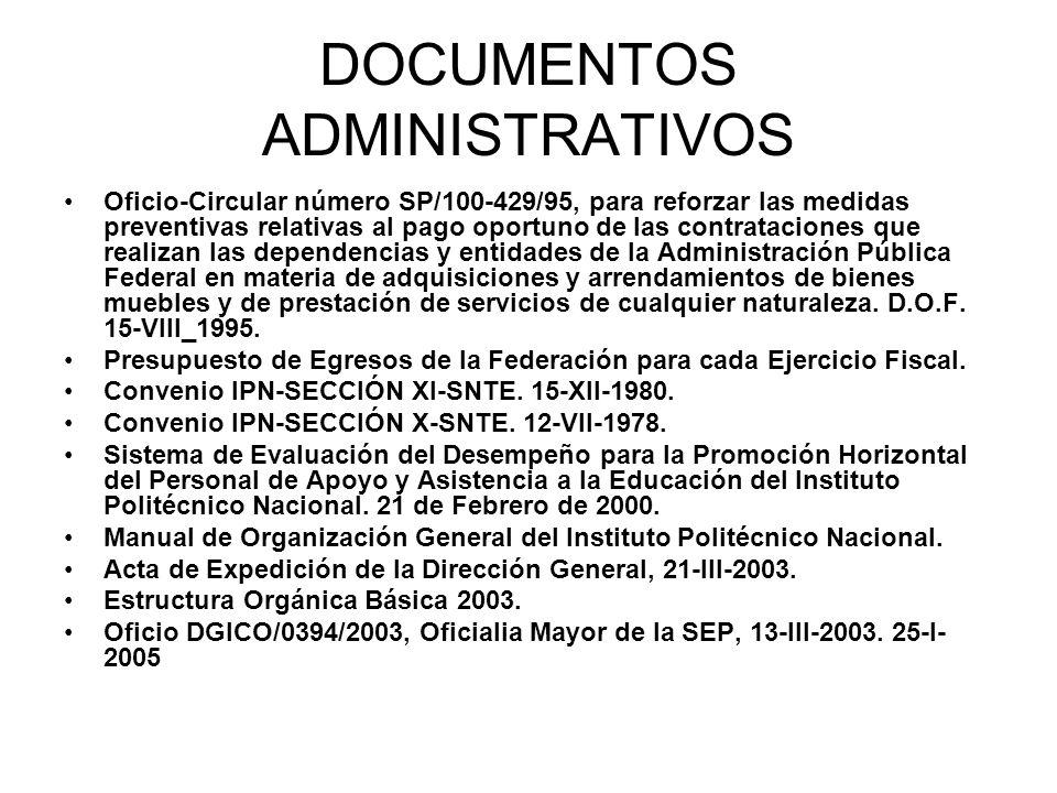 DOCUMENTOS ADMINISTRATIVOS Oficio-Circular número SP/100-429/95, para reforzar las medidas preventivas relativas al pago oportuno de las contratacione