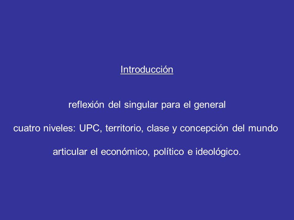 Introducción reflexión del singular para el general cuatro niveles: UPC, territorio, clase y concepción del mundo articular el económico, político e ideológico.