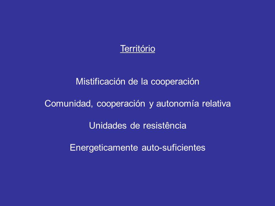 Território Mistificación de la cooperación Comunidad, cooperación y autonomía relativa Unidades de resistência Energeticamente auto-suficientes
