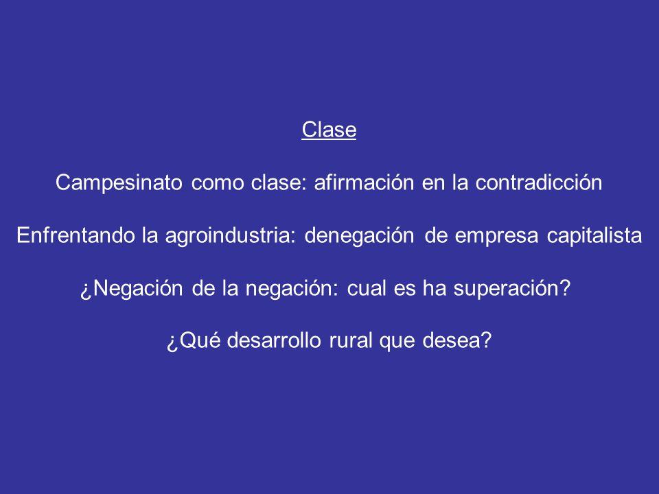 Clase Campesinato como clase: afirmación en la contradicción Enfrentando la agroindustria: denegación de empresa capitalista ¿Negación de la negación: cual es ha superación.