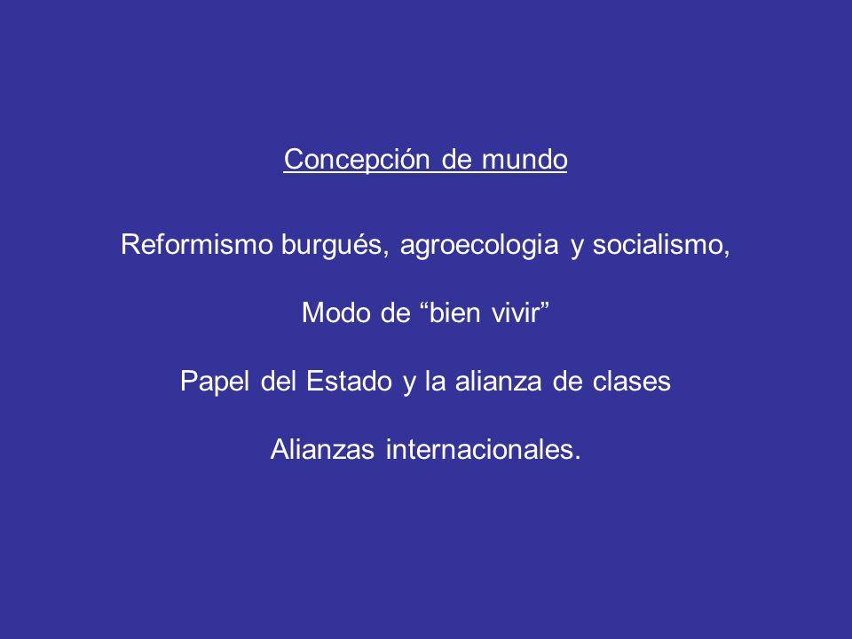 Concepción de mundo Reformismo burgués, agroecologia y socialismo, Modo de bien vivir Papel del Estado y la alianza de clases Alianzas internacionales.