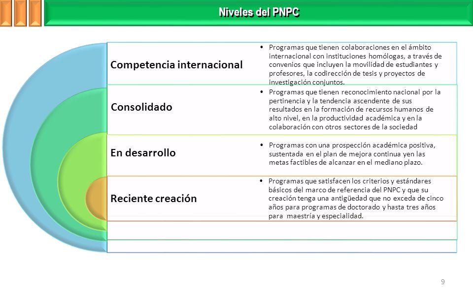 9 Niveles del PNPC Competencia internacional Consolidado En desarrollo Reciente creación Programas que tienen colaboraciones en el ámbito internacional con instituciones homólogas, a través de convenios que incluyen la movilidad de estudiantes y profesores, la codirección de tesis y proyectos de investigación conjuntos.