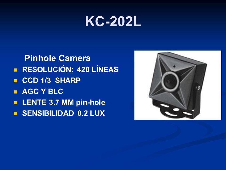 KC-202L Pinhole Camera RESOLUCIÓN: 420 LÍNEAS CCD 1/3 SHARP AGC Y BLC LENTE 3.7 MM pin-hole SENSIBILIDAD 0.2 LUX