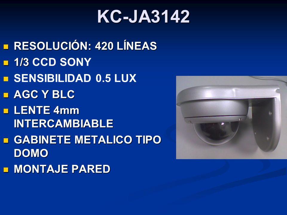 KC-JA3142 RESOLUCIÓN: 420 LÍNEAS RESOLUCIÓN: 420 LÍNEAS 1/3 1/3 CCD SONY SENSIBILIDAD 0.5 LUX AGC Y BLC AGC Y BLC LENTE 4mm INTERCAMBIABLE LENTE 4mm I