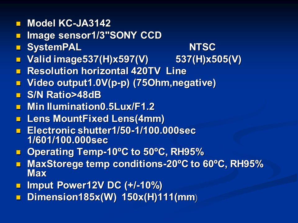 Model KC-JA3142 Model KC-JA3142 Image sensor1/3