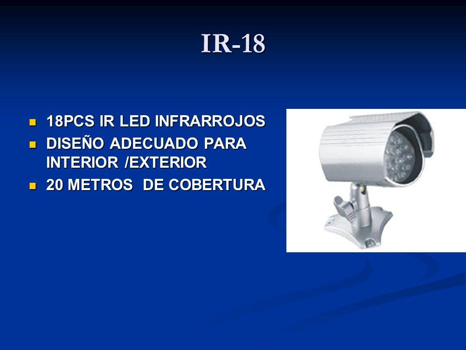 IR-18 18PCS IR LED INFRARROJOS 18PCS IR LED INFRARROJOS DISEÑO ADECUADO PARA INTERIOR /EXTERIOR DISEÑO ADECUADO PARA INTERIOR /EXTERIOR 20 METROS DE C