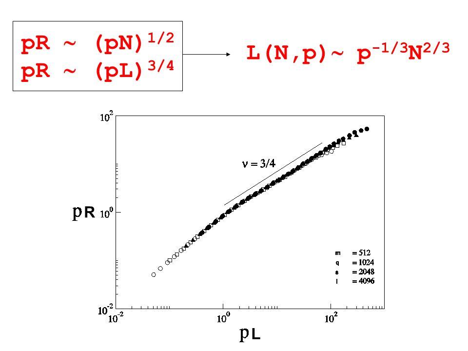 pR (pN) 1/2 pR (pL) 3/4 L(N,p) p -1/3 N 2/3 R L