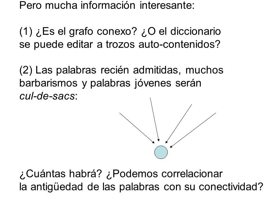 Pero mucha información interesante: (1) ¿Es el grafo conexo? ¿O el diccionario se puede editar a trozos auto-contenidos? (2) Las palabras recién admit
