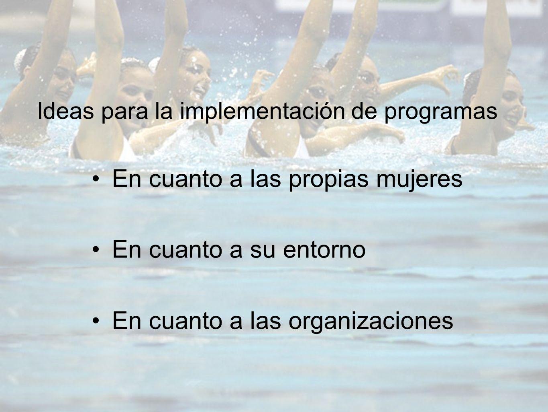 Ideas para la implementación de programas En cuanto a las propias mujeres En cuanto a su entorno En cuanto a las organizaciones