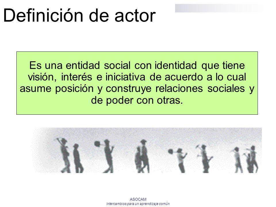 ASOCAM Intercambios para un aprendizaje común Definición de actor Es una entidad social con identidad que tiene visión, interés e iniciativa de acuerd