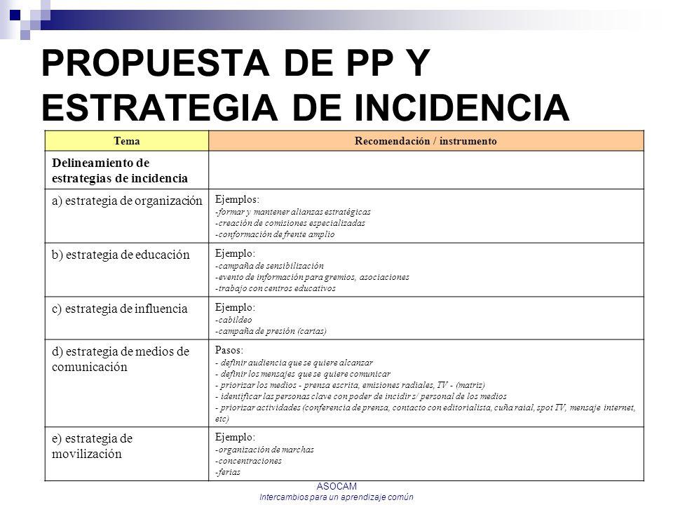 ASOCAM Intercambios para un aprendizaje común PROPUESTA DE PP Y ESTRATEGIA DE INCIDENCIA TemaRecomendación / instrumento Delineamiento de estrategias