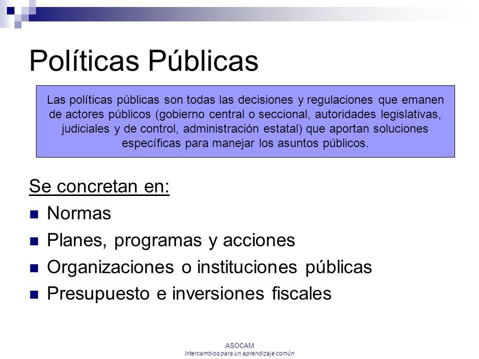 ASOCAM Intercambios para un aprendizaje común Políticas Públicas Se concretan en: Normas Planes, programas y acciones Organizaciones o instituciones p