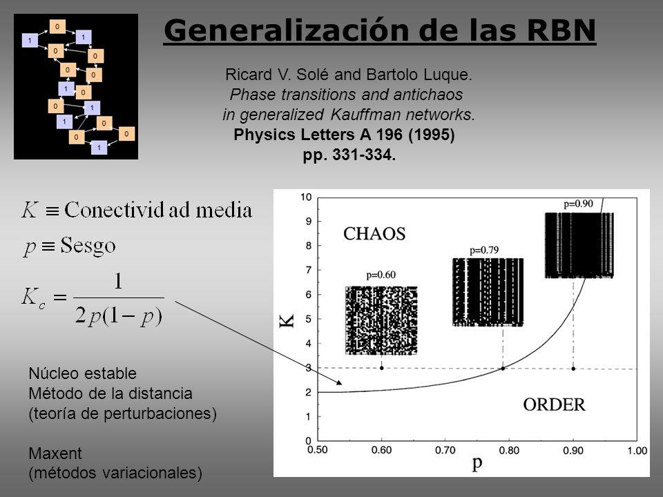 Generalización de las RBN Ricard V. Solé and Bartolo Luque.