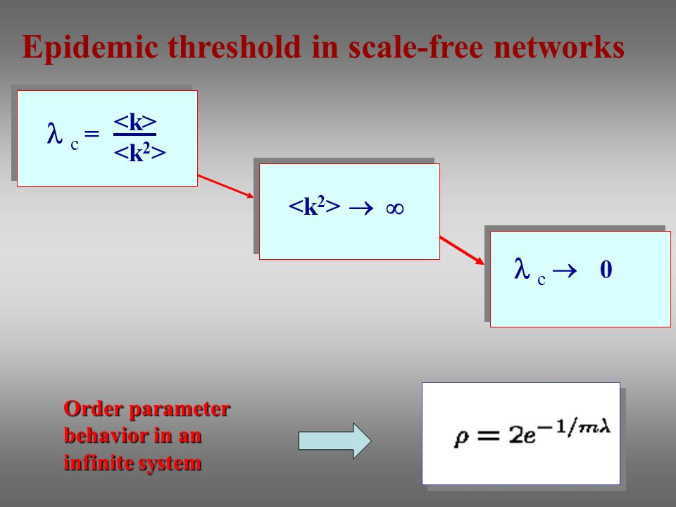 Order parameter behavior in an infinite system c = c 0 Epidemic threshold in scale-free networks
