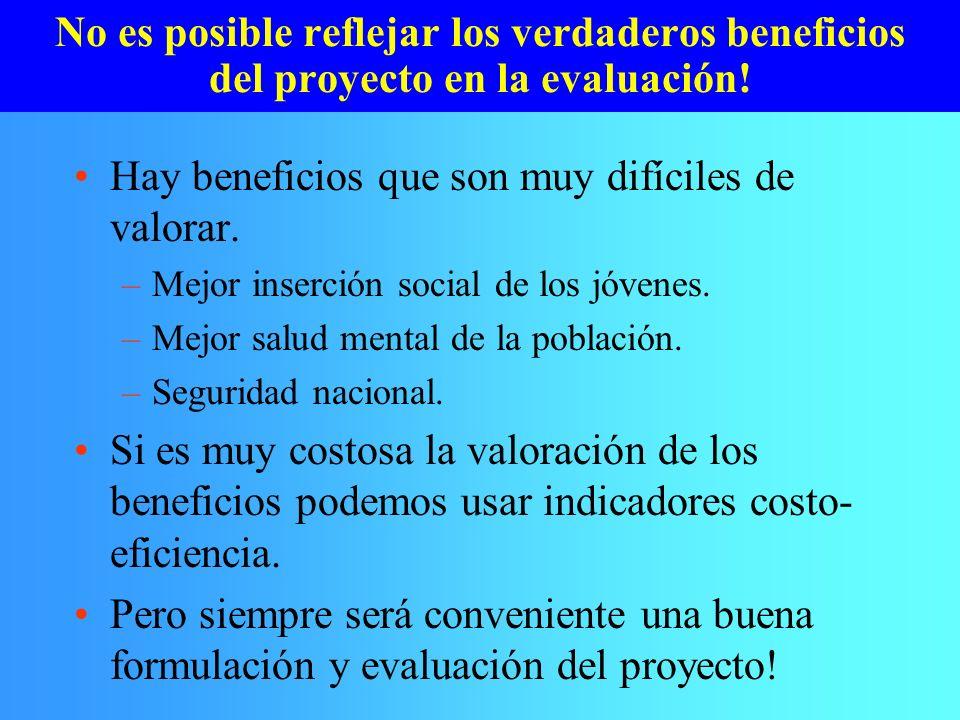 No es posible reflejar los verdaderos beneficios del proyecto en la evaluación! Hay beneficios que son muy difíciles de valorar. –Mejor inserción soci